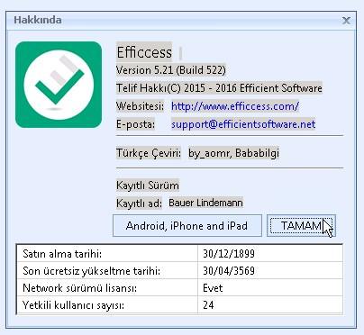 Efficcess v5.21.522 Türkçe