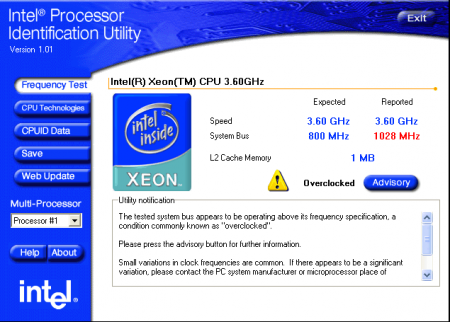 Intel Processor Identification Utility v5.50