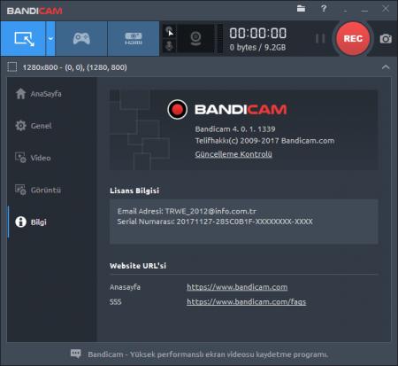 Bandicam v4.1.3.1400 Türkçe